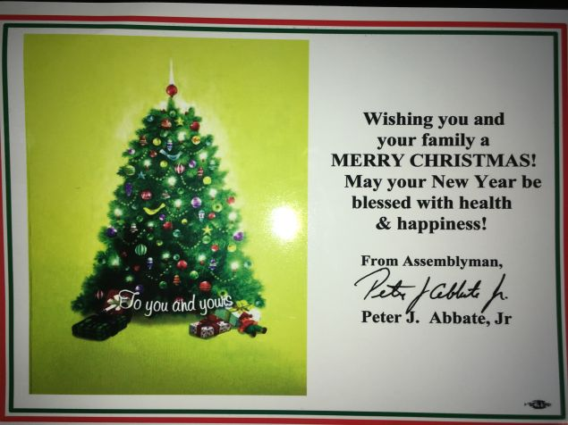 An Observer reporter received this Christmas card at his home.