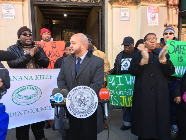 Bronx Councilman Rafael Salamanca speaks at a press conference where Bronx tenants announced a lawsuit against their landlord.