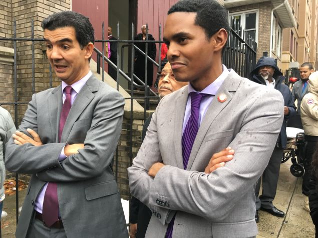 Councilmen Ydanis Rodriguez and Ritchie Torres spoke to reporters after endorsing Mayor Bill de Blasio for reelection at a church in the Bronx.