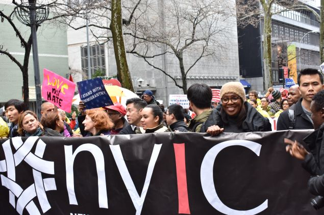"""Public Advocate Letitia James and Council Speaker Melissa Mark-Viverito participated in the """"March for Immigrant New York"""" today organized by the New York Immigration Coalition."""