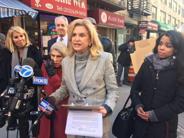 Congresswoman Carolyn Maloney speaks at a press conference celebrating the upcoming opening of the Second Avenue Subway Line.