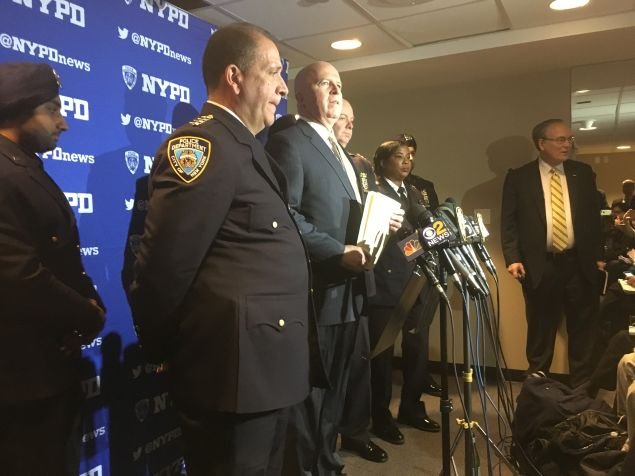 Police Commissioner James O'Neill addresses reporters following the NYPD graduation ceremony at Madison Square Garden.