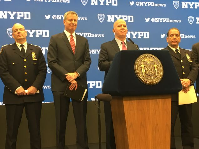 Police Commissioner James O'Neill and Mayor Bill de Blasio discussed security preparations for New Year's Eve at NASDAQ Marketsite.