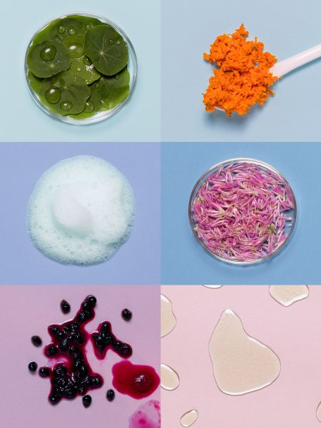A collage of ingredients from Care/Of vitamins.