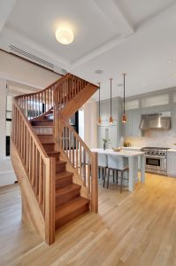 The staircase is custom mahogany.