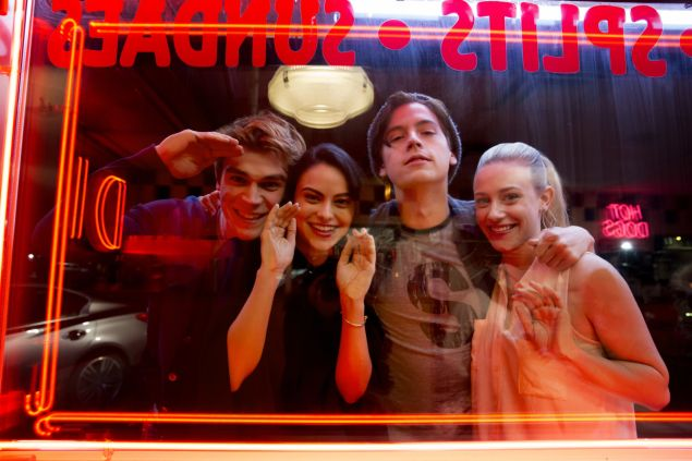 KJ Apa, Camila Mendes, Cole Sprouse and Lili Reinhart in Riverdale.