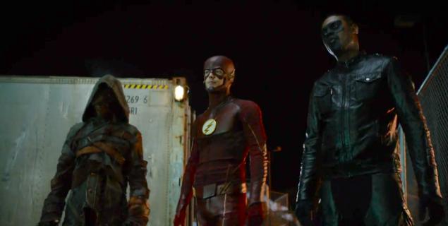 Joe Dinicol as Ragman, Grant Gustin as The Flash and Echo Kellum as Mister Terrific.