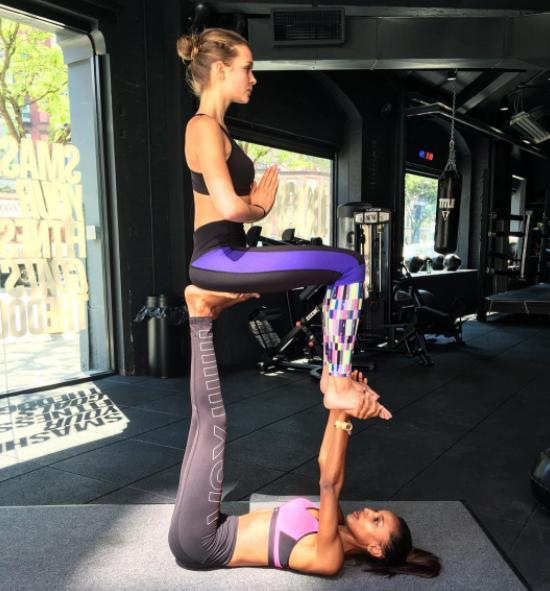 Josephine Skriver and Jasmine Tookes share a fitness Instagram, JoJa.