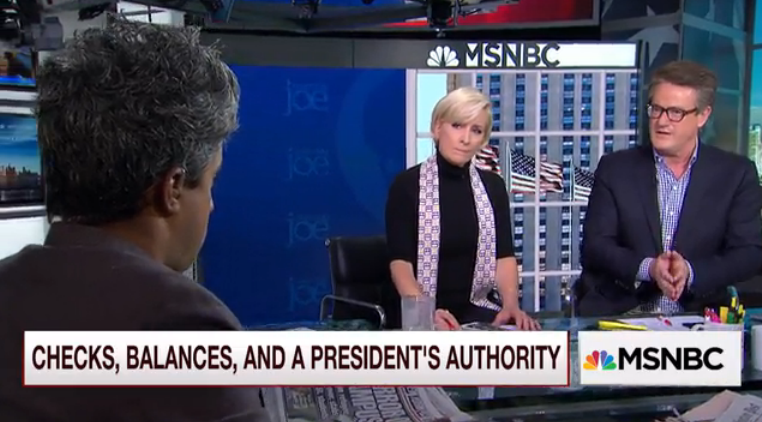 Giridharadas tried to explain to Scarborough the sorts of fears that are spreading among people who aren't white, Christian, heterosexual men like Scarborough.