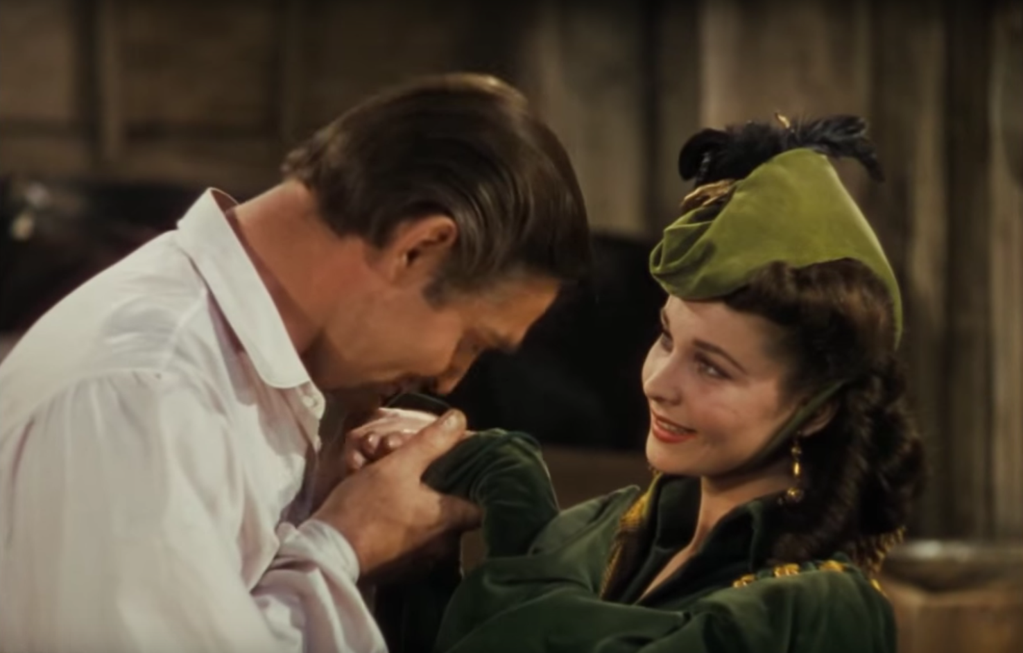 Scarlett O'Hara (Vivien Leigh) in green in Gone With the Wind.