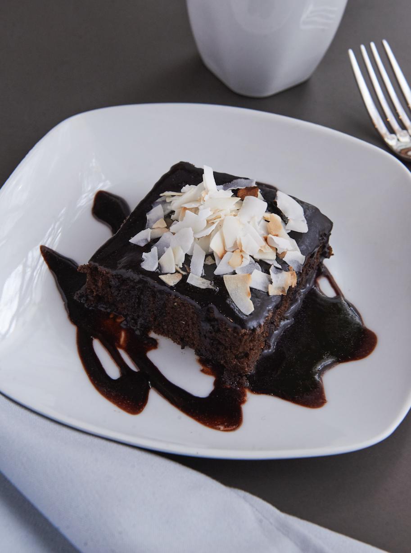 Coconut carob cake.