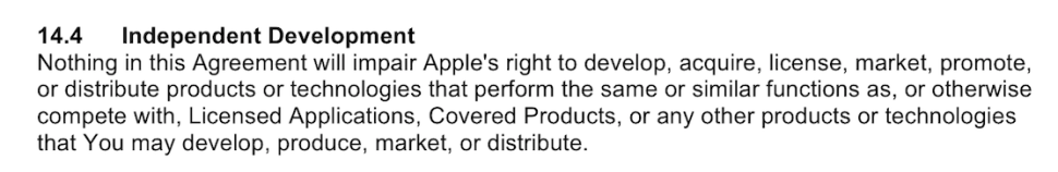 Apple's 74-page developer program license agreement