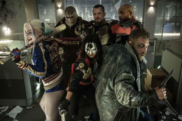 (L-R) Margot Robbie as Harley Quinn, Adewale Akinnuoye-Agbaje as Killer Croc, Joel Kinnaman as Rick Flag, Will Smith as Deadshot and Jai Courtney as Captain Boomerang.