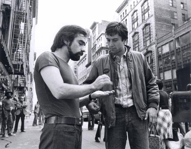 Martin Scorsese and Robert De Niro on the set of TAXI DRIVER (1976).