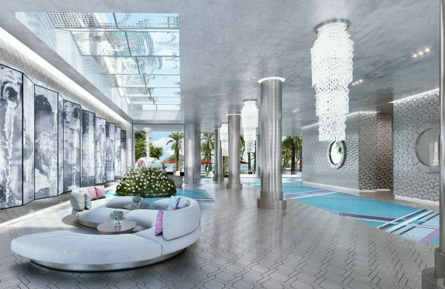 The rendering for the South Tower lobby Karl Lagerfeld is designing.