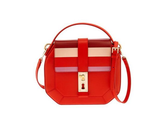 Tina Craig for Gianfranco Lotti Otto Medium Striped Leather Shoulder Bag, $2,185, Net-A-Porter.com,