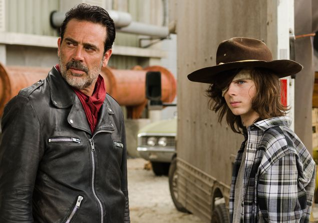 Jeffrey Dean Morgan as Negan and Chandler Riggs as Carl Grimes.