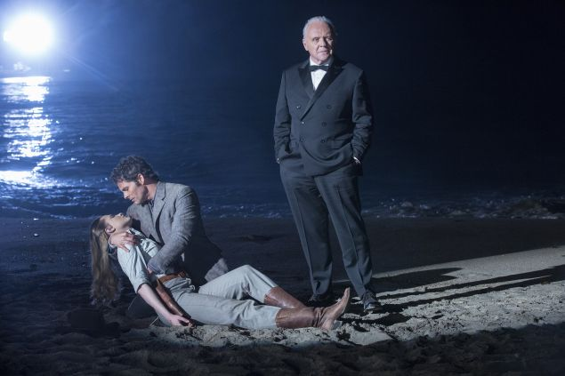 Evan Rachel Wood as Dolores, James Marsden as Teddy and Anthony Hopkins as Robert Ford.