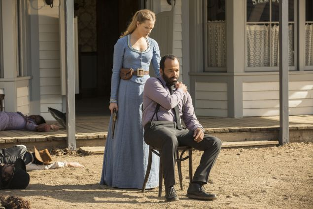 Evan Rachel Wood as Dolores and Jeffrey Wright as Arnold.