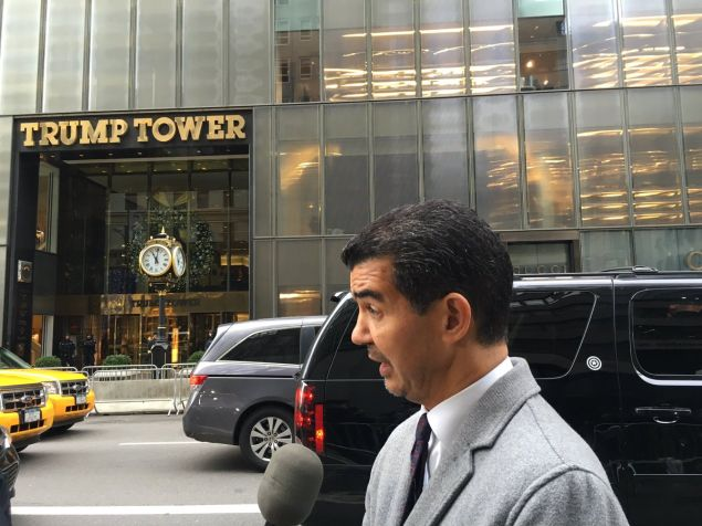 Councilman Ydanis Rodriguez, chairman of the City Council's Transportation Committee, speaks to reporters across the street from Trump Tower.