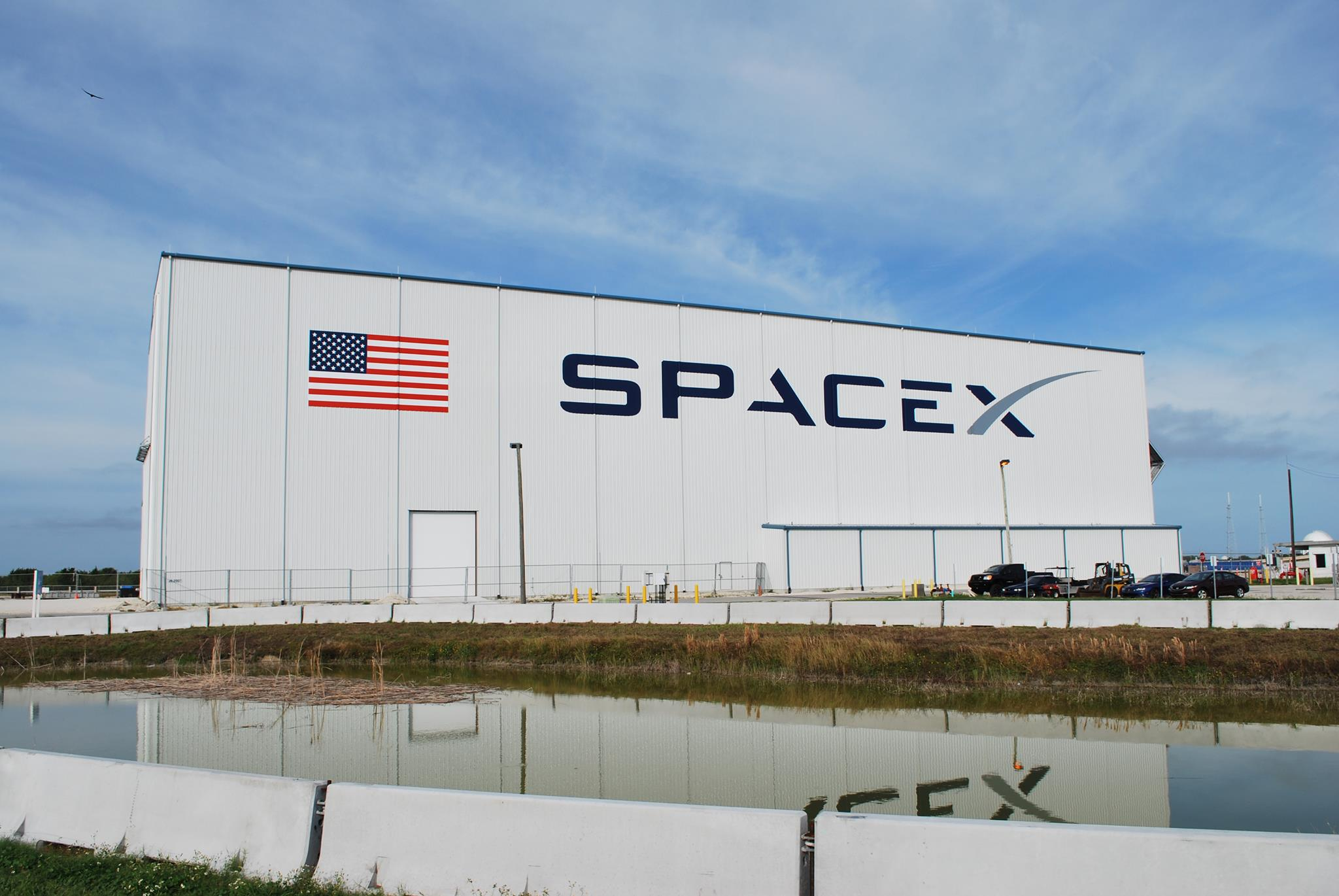 SpaceX's hangar at Launch Complex 39A at Kennedy Space Center.