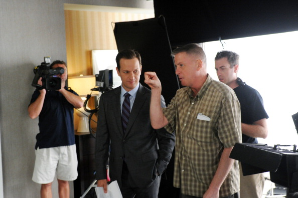 """Josh Charles (center) and camera """"A"""" operator Peter Nolan (right) on the set of THE GOOD WIFE"""