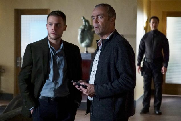 Iain De Caestecker as Agent Leo Fitz and John Hanna as Holden Radcliffe.