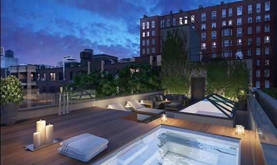 A rendering of the roof deck.