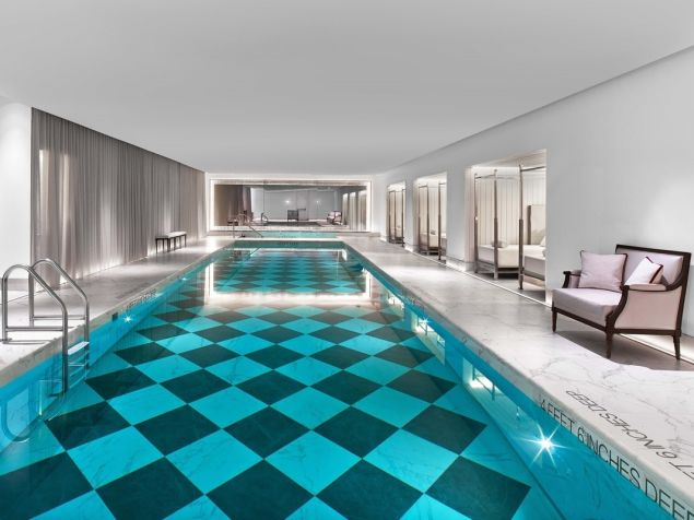 A marble-bedecked pool, of course.