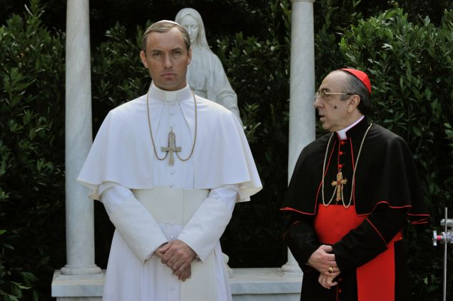 Jude Law as Lenny Belardo and Silvio Orlando as Cardinal Voiello.