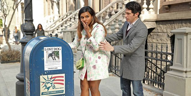 Mindy Kaling as Mindy Lahiri and Chris Messina as Danny Castellano in The Mindy Project.