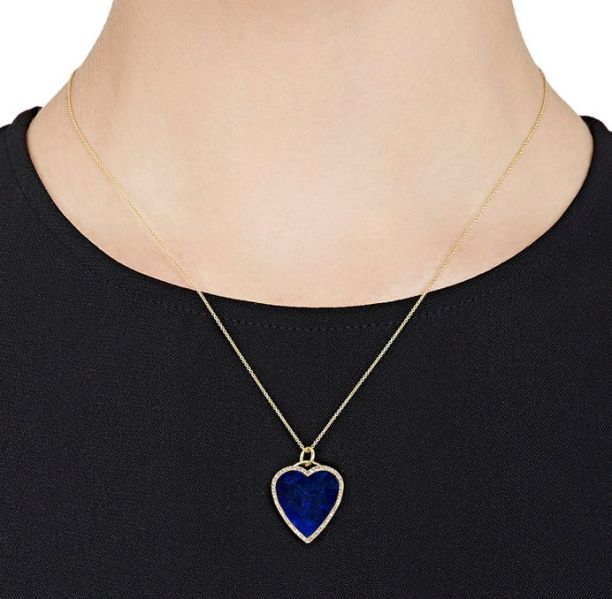 Start a charm necklace with this lapis heart pendant from Jennifer Meyer.