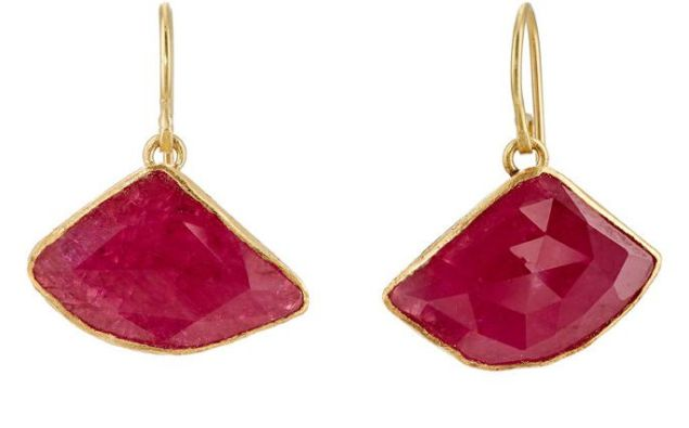 These triangular ruby slices from Judy Geib have an intense red hue.