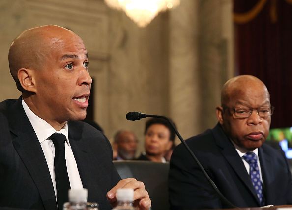 Sen. Cory Booker (left) and Rep. John Lewis of Georgia testified against Attorney General nominee Jeff Sessions.
