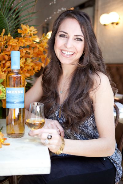 Allison Patel shows off her creation, Brenne Whiskey.