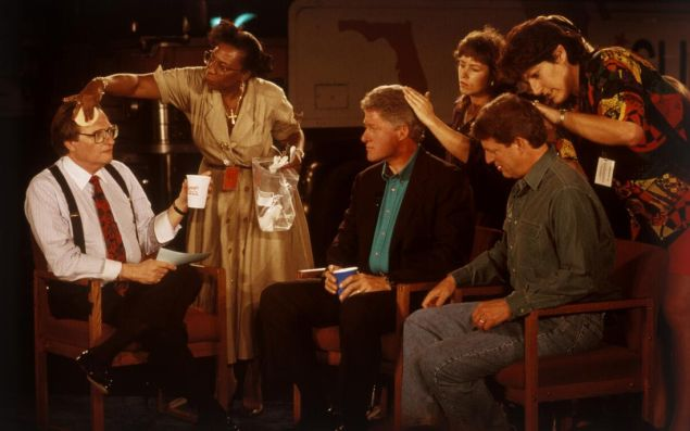 David Burnett, [Larry King, Bill Clinton, and Al Gore Preparing a Television Interview], 1992.