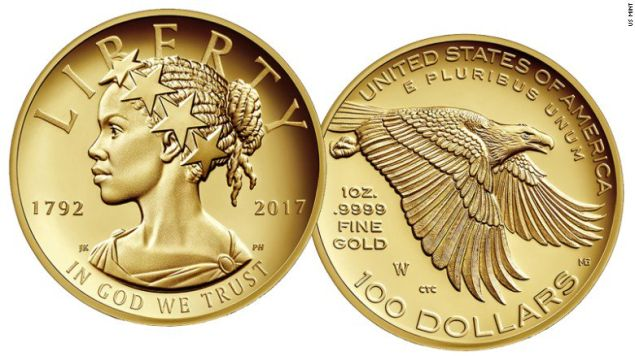 The U.S. Mint's 225th anniversary commemorative $100 gold coin features a black Lady Liberty.