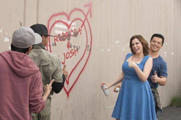 Rachel Bloom as Rebecca and Vincent Rodriguez III as Josh.