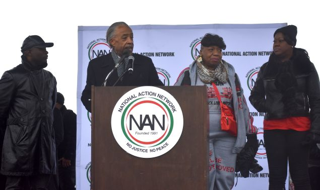 The parents of Trayvon Martin, Eric Garner and Walter Scott with the Rev. Al Sharpton.