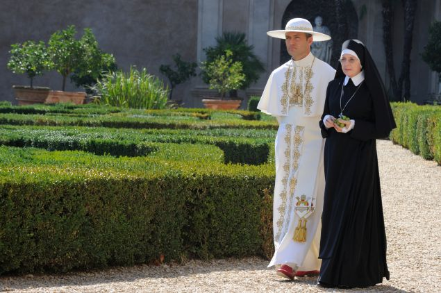 Jude Law as Lenny Belardo and Diane Keaton as Sister Mary.