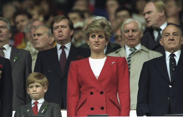 Princess Diana and Prince Harry at the Wales-Australia match during the 1991 World Cup at Cardiff Arms in Wales.