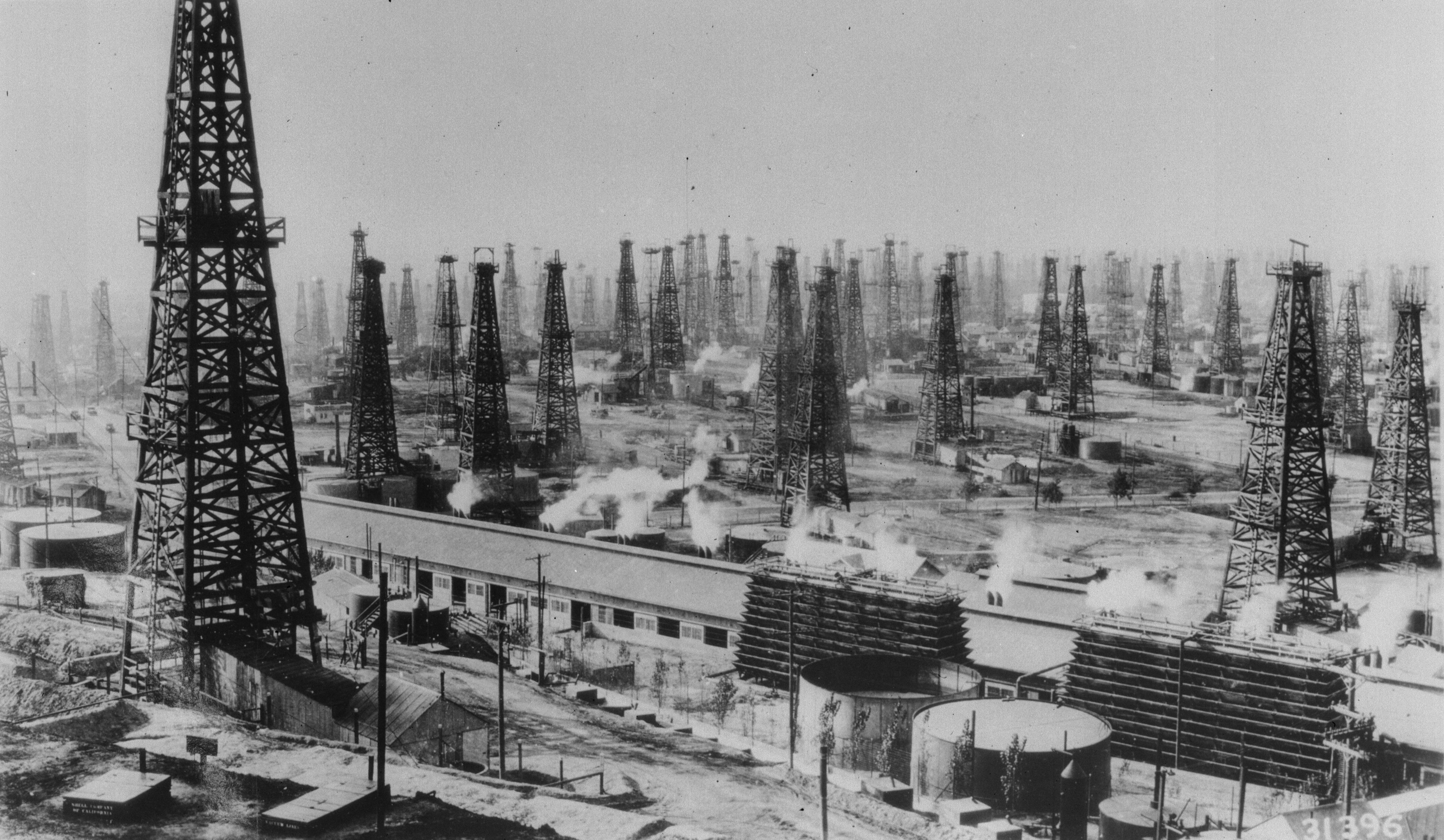 May 1938: An oilfield of rotary derricks in the USA.