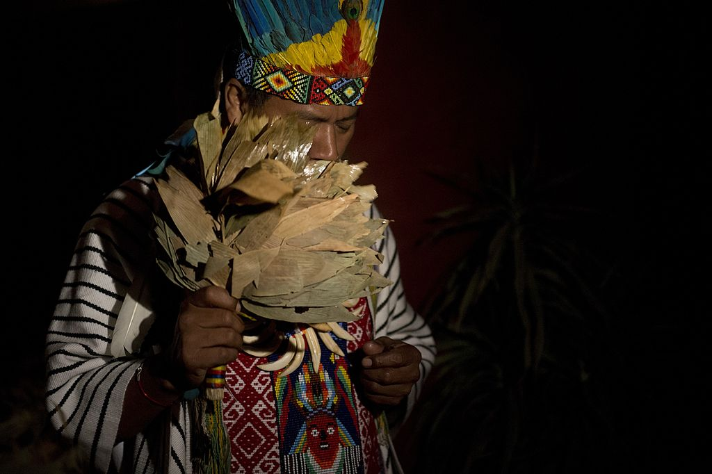 A healer starting a Yage ceremony in La Calera, Cundinamarca department, Colombia. Yage, a mixture of the Ayahuasca hallucinogenic liana and a psychoactive bush, attracts many people in Colombia, who seek to participate in a traditional indigenous ritual of spiritual and physical healing impossible to realize in many countries where these plants are considered drugs. AFP PHOTO/EITAN ABRAMOVICH (Photo credit should read EITAN ABRAMOVICH/AFP/Getty Images)
