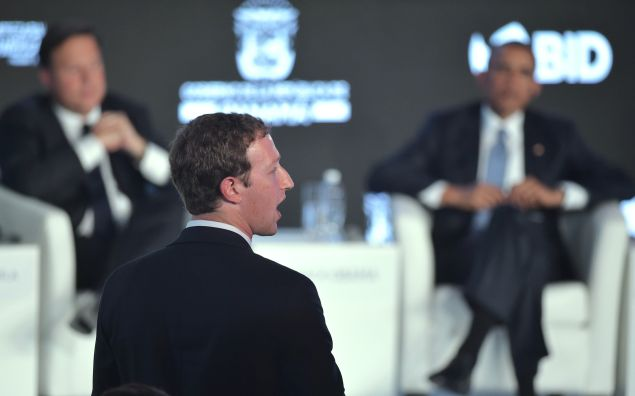 Facebook CEO and founder Mark Zuckerberg asks a question during the CEO Summit of the Americas in Panama City on April 10, 2015. AFP PHOTO/MANDEL NGAN