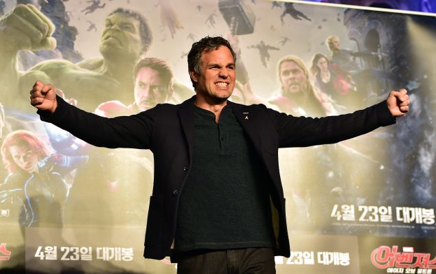 """Mark Ruffalo poses for a photo session during a press conference to promote Marvel's """"Avengers: Age Of Ultron"""" in Seoul on April 17, 2015."""