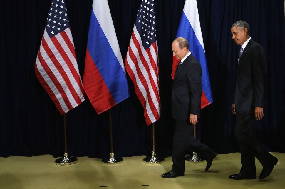 NEW YORK, NY - SEPTEMBER 28: (AFP OUT) Russian President Vladimir Putin (L) and U.S. President Barack Obama walk out for a photo-op before the start of a bilateral meeting at the United Nations headquarters September 28, 2015 in New York City. Putin and Obama are in New York City to attend the 70th anniversary general assembly meetings. (Photo by Chip Somodevilla/Getty Images)