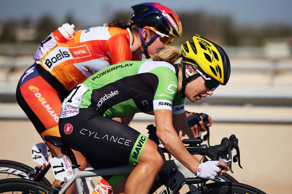 Shelley Olds of Cylance Pro Cycling in action during stage 3 of the 2016 Ladies Tour of Qatar.