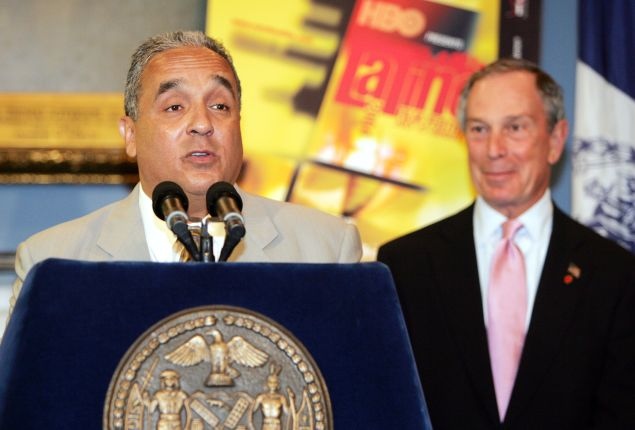 Willie Colon joins Mayor Michael Bloomberg at a press conference on the New York International Latino Film Festival at City in 2004. (Photo by Scott Gries/Getty Images)