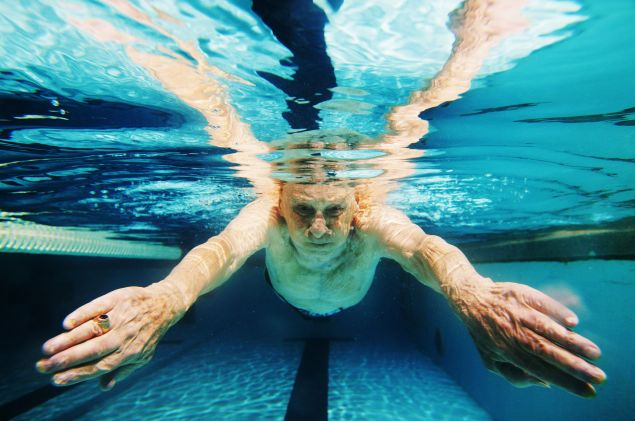Gerson Sobel, 93, of Rockville Center, New York swims his morning laps at the Freeport Recreation Center on February 6, 2004 in Freeport, New York.