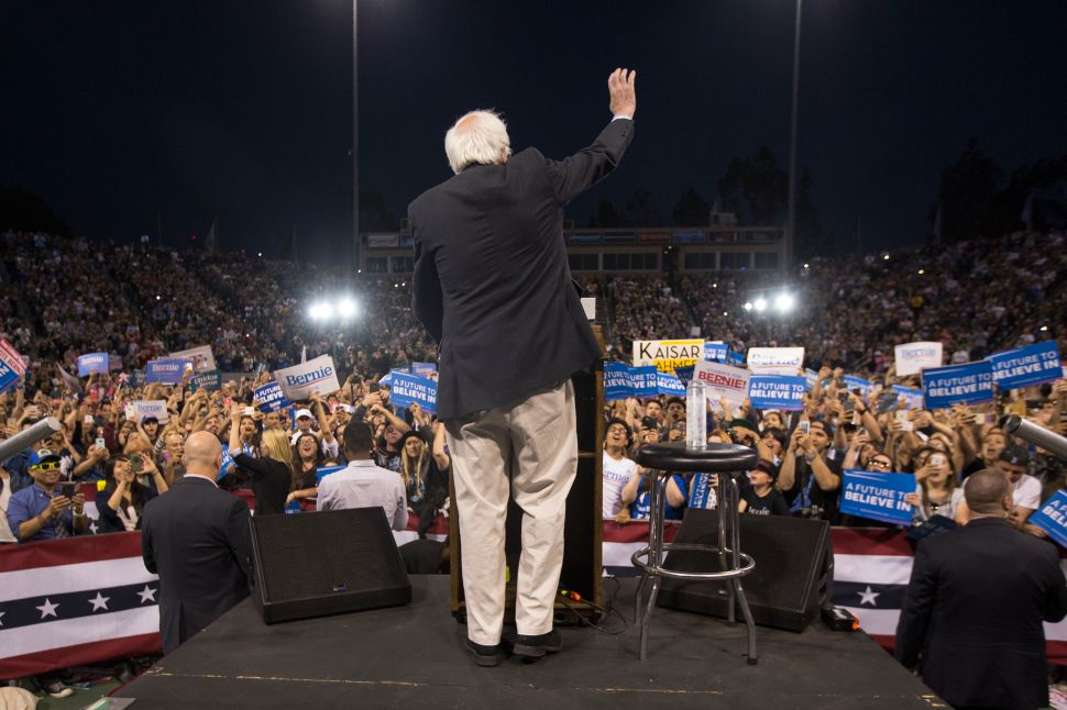 Sen. Bernie Sanders appears at a campaign rally at California State University on May 17, 2016.